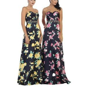 Strapless Floral Print Prom Gown